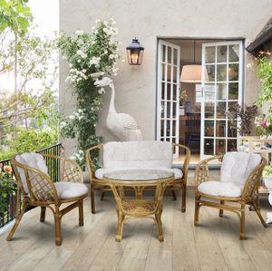 Mirjan24 Gartengarnitur Bahama, Zwei Sessel, Sofa und Couchtisch, Möbel für Terrasse, Gartenmöbel, Rattan (Wild Natural + Weiß)