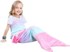 Kinder Meerjungfrau Decke Geschenke Beste - Personalisierte Warmes Wohnzimmer Sofa Decke Schlafsack Spielzeug Kinder Für Weihnachts Geburtstagsgeschenk (V1-Rosa, Kinder 120cm x 42cm)