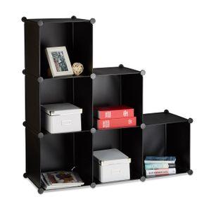 relaxdays 1 x Stufenregal Treppenregal Raumteiler Standregal Stecksystem 6 Fächer schwarz