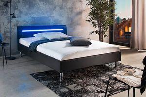 Meise Möbel Polsterbett Miami LED Kunstleder Größe und Farbe wählbar, Größe:140x200 cm, Stoffe:Stoff schwarz