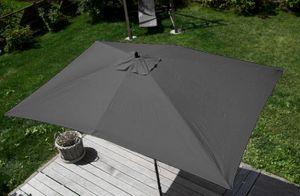 Sonnenschirm Florida, Gartenschirm Marktschirm, 2x3m Polyester/Holz 6kg  anthrazit