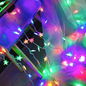 2m 20LED Stern Bunt Lichterkette Batteriebetrieben Innen Außen Party Weihnachten Deko