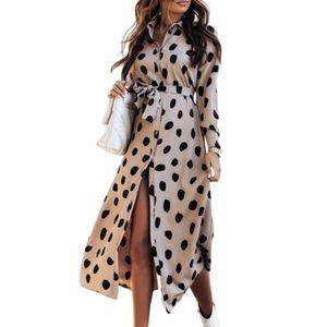 Damen Langarm Mittellanges Kleid Cardigan Beach Dress,Farbe: Khaki,Größe:XXL