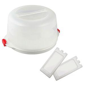 Dr. Oetker Kuchentransportbox  Ø 38 x 19 cm BAKE & GO, für alle gängigen Kuchengrößen, Party- und Tortenbutler mit Tragehenkel, inklusive Akkus (Farbe: Transparent/Rot), Menge: 1 x 3er Set