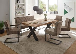 Essgruppe 6-tlg. Mangoholz mit Freischwinger Stühlen und Sitzbank Taupe