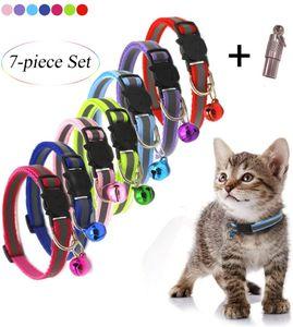 Katzenhalsbänder mit Schnellverschluss, 7 Stück, mit niedlichen Glöckchen, ID-Tag und reflektierenden Streifen, verstellbares Haustier-Halsband für Katzen, Sicherheitsschnalle