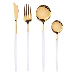 4 Stück/ Set  Weißes Gold Edelstahl Besteck Set, Geschirr Besteck Besteck Set Abendessen Messer Gabel Löffel
