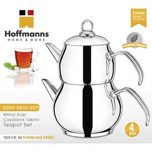 HOFFMANNS Home & More Teekanne 18/10 Edelstahl Caydanlik Teekocher Rostfrei Wasser/Tee-Kessel Griff Silber