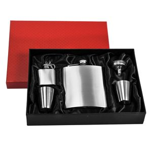 eyepower Flachmann-Set Geschenkbox Edelstahl 210 ml| Trichter, 4 Bechern, Schlüsselanhänger