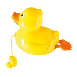 Bieco Aufziehspielzeug Ente zum Baden | Badespielzeug Baby ab 1 Jahr | Wasserspielzeug Baby Ente | Süßes Enten Badewannen Spielzeug zum Aufziehen | Gelbe Ente als Planschbecken Spielzeug | Badetiere