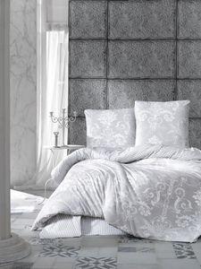Bettwäsche 240x220 cm. grau 3 teilig set, 100% Baumwolle/Renforcé, Alone V1