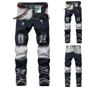 Stretchy Ripped Skinny Biker Jeans für Herren Destroyed Taped Slim Fit Denim Pants Größe:34,Farbe:Schwarz