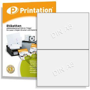 Printation Universal u. Versand Etiketten 200 Labels 210 x 148,5 mm weiß permanent selbstklebend - 100 A4 Bogen á 1x2 Aufkleber - Internetmarke Paket 3655 4628 - Deutsche Qualitätsware
