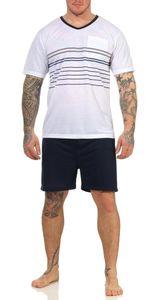 Herren Sommer Pyjama Short & T-Shirt Schlafanzug, Weiß L