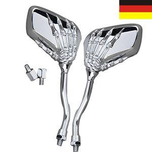 2x Universal Motorrad Rückspiegel Spiegel Schädel Skelett Design Chrom 8mm 10mm