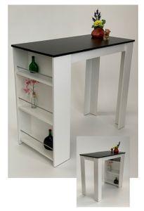 Möbel SD Bartisch -Stehtisch Schwarz-Weiß 120x60cm