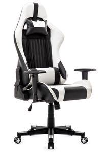 Gaming Stuhl, Racing Gamer Stuhl, Bürostuhl, Ergonomischer höhenverstellbar Schreibtischstuhl, Weiß