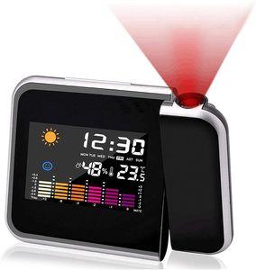 Wecker mit Projektion, LED Projektion Wecker Projektionswecker USB Aufladbar Digital/Taktgeber Temperaturanzeige/Hygrometer/Uhrzeit & Datumsanzeige/LCD Displaybeleuchtung/LED Backlight/Snooze