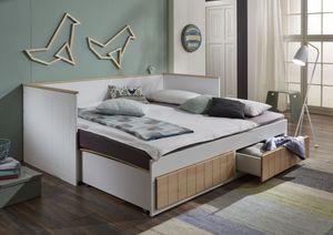 Relita Funktionsbett Timmi 90/180 x 200 cm Liegefläche u. 2 Schubladen, weiß/buche
