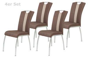 4er Set Vierfußstuhl Amber 3  - Webstoff Braun/Kunstleder Beige - Bügelgriff und Metallgestell verchromt