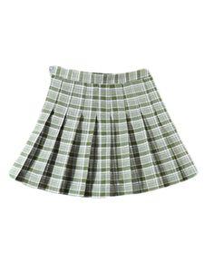 Damen sexy kurzen Rock hohe Taille Reißverschluss Falten Plaid Rock Mini kurze A-Linie Rock,Farbe: Dunkelgrün,Größe:XXL