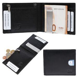 Herren Echt Leder RFID Slim Geldbörse Geldklammer Portemonnaie Geldbeutel Black
