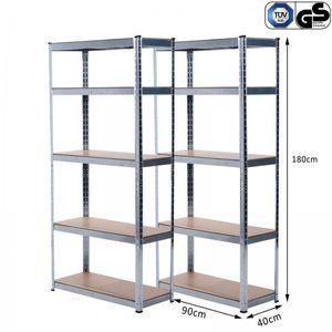 Grafner® Doppel Schwerlastregal 1,80m Werkstattregal auf 5 Ebenen 1750kg Traglast /
