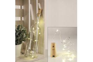 Haushalt International 76535 Lichterkette Draht silber Korken 70cm 8 LEDs warmweiß Batterie