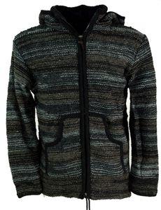 Strickjacke Wolljacke Nepaljacke Batik Schwarz - Modell 24, Herren, Wolle, Größe: M