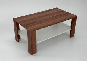 Möbel SD Couchtisch Bea Nussbaum Optik mit Ablage in Weiß Landhaus Stil