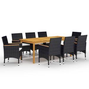 Gartenmöbel Essgruppe 8 Personen ,9-TLG. Terrassenmöbel Balkonset Sitzgruppe: Tisch mit 8 Stühle Schwarz❀6399