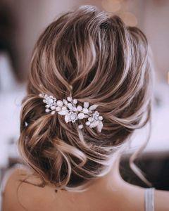 Silberhochzeit Kristall Haar Reben Blume Blatt Kopfschmuck Hochzeit Haarschmuck für die Braut (Silber)