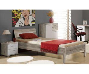 BEAL09-P79 Beach 90 x 200 cm Jugendbett Futonbett Einzelbett Gästebett Kinderbett Sandeiche Nachbildung / weiss