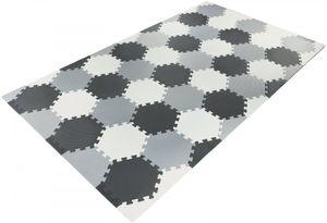 XXL Krabbelmatte Puzzelmatte mit Rand Spielmatte für Babys und Kleinkinder 260 x 135 x 1 cm + Wasserdicht + Tragetasche - Grau