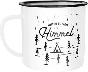 """Emaille Tasse Becher Outdoor Design Spruch """"unter freiem Himmel"""" Travelling Camping Trekking Kaffeetasse Moonworks® weiß-schwarz Emailletasse"""