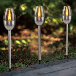 FHS 35312 LED Solar Gartenfackeln 26,5cm Gartenstecker Edelstahl 3er Set LEDs amber