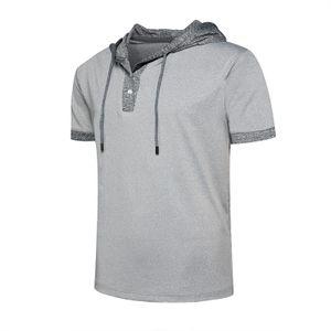 Männer Hoodies Kurzarm Kapuzenoberteile Sommer Casual T-Shirt Bluse Pullover Tee,Farbe: Grau,Größe:XL