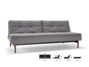 Innovation Dublexo Schlafsofa 3-Sitzer - 563 Charcoal Twist Retro gedrechselt Ulme dunkel