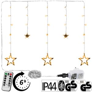 VOLTRONIC® 5 Sterne LED Lichtervorhang, warmweiß, FB
