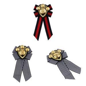 3 Stück Damen Bowknot Fliege Anzug Shirt Gestreifte Kragen Krawatte Brosche Pin