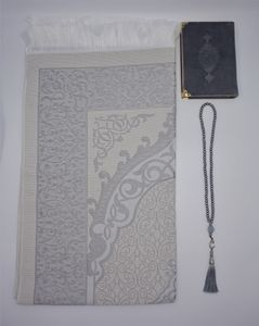 Lale Collection® Premium Gebetsteppich-Set Grau + Gebetskette Seccade Namaz Bayram Sejjada Tesbih Quran Islam Muslim