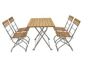 DEGAMO Biergarten Garnitur Sitzgruppe Gartenset MÜNCHEN 5-teilig, Flachstahl verzinkt + Holz Robinie