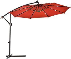 COSTWAY Ø300cm LED Ampelschirm Sonnenschirm, Gartenschirm mit Solarlichtern, Terrassenschirm neigbar, Strandschirm für Garten, Terrasse, Pool oder Veranda