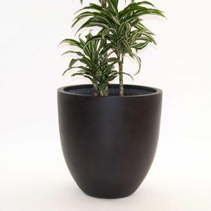 Pflanzkübel Fiberglas, rund konisch D60xH60cm elegant schwarz-matt.