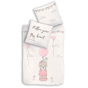 Hase Kinder-Bettwäsche 80x80 + 135x200 cm ☆ Renforce-Bettwäsche für Mädchen in beige, rosa ☆ Little One · Herz, Wolken & Blumen - 100% Baumwolle