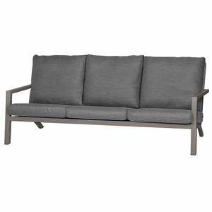 Lounge Sofa 3er Belia, 210x81x91 cm, Gestellmaterial Aluminium pulverbeschichtet in silber, Fläche aus Aluminium pulverbeschichtet in silber, Polster aus Polypropylen 230g/m² in dunkelgrau