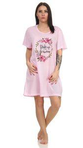 Damen Nachthemd Sleepshirt Nachtwäsche, Rosa 2XL