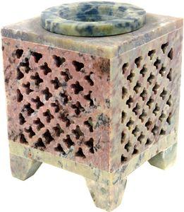 Indische Duftlampe, ätherisches Öl Diffusor, Teelicht Halter für Aromatherapie, Aromalampe aus Speckstein - Würfel Orient, Creme-weiß, 8*6*6 cm, Duftlampen & Öllampen