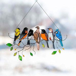 Mehrfarbig Vögel Hängende Ornament Glasmalerei Fensterbehänge für Zuhause Fenster  Verzierung