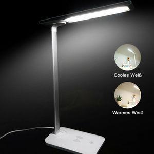 LED-Schreibtischlampe,augenpflegende Tischlampe,dimmbare Buerolampe mit Touch-Steuerung USB-Ladeanschluss